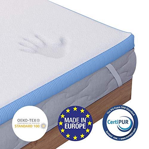 Dreamzie ⭐Viscoelastischer Topper H3 90 x 200 cm - Orthopädische Matratzenauflage in Europa hergestellt und Oeko TEX Zertifiziert - 4 Eckbänder - Bezug aus Bambusviskose mit Reißverschluss