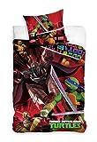 Tartarughe Ninja - Parure/biancheria da letto reversibile 100% cotone, copripiumino 140 x 200 cm + federa 70 x 90 cm, motivo: Tartarughe Ninja, colore: rosso