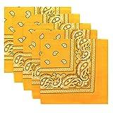 KARL LOVEN Lot de bandanas 100% Coton paisley foulard fichu bandana 25 couleurs au choix - Lot 5/10/20 (Lot de 20 Différents, Orange Mangue)