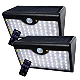 Solarleuchten Außen 60 LED Solar Lampen Streetlights 1300 LM Solar-Strahler mit drahtloser Fernbedienung und Sicherheit Bewegungssensor Sicherheitslicht (Weißes Licht - 2 Stück) [Energieklasse A++]