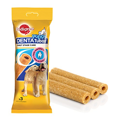 Pedigree Puppy Denta Tubos Oral Care for Puppy Dog, Chicken , 72 g (3 Sticks)