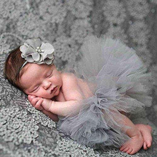 Super Kostüm Mädchen Nettes - Aiming Nette Prinzessin Neugeborene Fotografie Props Baby-Kostüm-Ausstattung mit Blumen-Stirnband-Baby-Sommer-Kleid