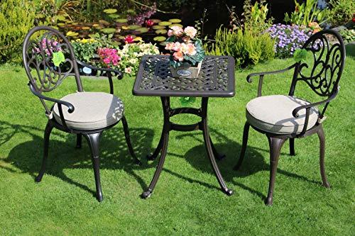 Made for us Alu-Gartenmöbel-Set Gartentisch 54 x 54 cm und 2 Gartenstühle aus wetterfestem Aluguss...