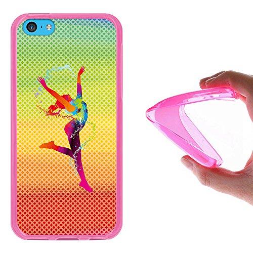 iPhone 5C Hülle, WoowCase Handyhülle Silikon für [ iPhone 5C ] Basketball Handytasche Handy Cover Case Schutzhülle Flexible TPU - Transparent Housse Gel iPhone 5C Rosa D0507