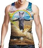 Idgreatim MäNner Cosplay Katze Im WüSten-Regenbogen-TräGershirt Cooles Grafik-Hemd XX-Groß