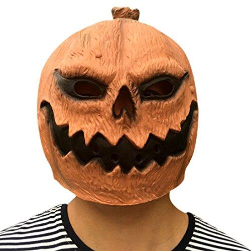 Freahap Halloween Maske Kürbis Kopfmaske aus Latex Horror Kürbiskopf Maske #2