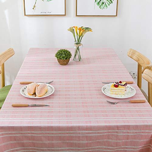 YIWAN Staubdichte und wasserdichte Tischdecken sind waschbar und pflegeleicht, umweltfreundlich, für Familien oder Partys geeignet-Haushalts gestreifte Tischdecke rosa 110 * 170cm