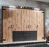 lifestyle4living Kleiderschrank in Plankeneiche-Dekor mit Absetzungen in Stahl-Optik, Drehtüren-Schrank mit viel Stauraum im Industrial-Look, Falttürenschrank ist 250 cm breit