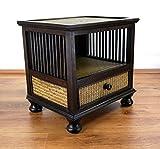 Asia Wohnstudio Asiatische Kommode, Nachtschrank aus Massivholz mit Rattanverzierungen, Asia Möbel der Marke, verziert im Kolonialstil, (Nr.1)
