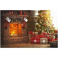 Uonlytech Telón de Fondo de Navidad Fotografía Tema de Navidad Chimenea Tela pictórica Fotografía Personalizada Fondo Estudio Prop 5x3ft