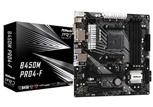 Asrock B450M Pro4-F Motherboard Buchse AM4 Micro ATX AMD B450 - Motherboards (AMD, Buchse AM4, AMD Athlon,AMD Ryzen, DDR4-SDRAM, DIMM, 2133,2400,2667,2933,3200 MHz)