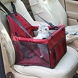 FONLAM Sedia Sedile di Sicurezza Auto per Gatto Cane Cucciolo Cestino Transportin Contenitori da Trasporto Automobile Animale Domestico Viaggio con Cintura di Sicurezza Cane (Rosso)