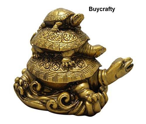 buycrafty Feng Shui Drei abgestuftes Schildkröten für Gesundheit Reichtum und Glück Religiöse Dekorative indischen Kunsthandwerk
