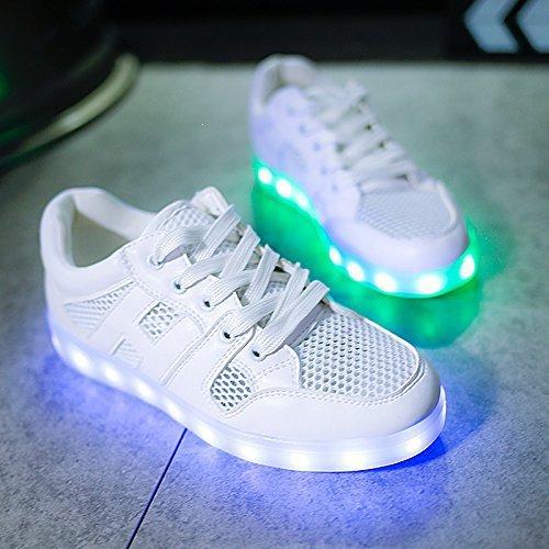 (Present:kleines Handtuch)JUNGLEST Damen Hohe Sneaker Weiß USB Aufladen LED Leuchtend Fasching Partyschuhe Sportsc c4