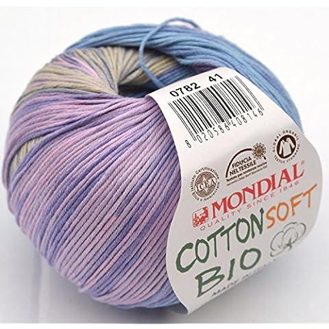 Lane Mondial Cotton Soft Bio Gomitolo di lana, colore misto lillà 782, cotone biologico 100%, ideale per bambino, per lavori a maglia & uncinetto
