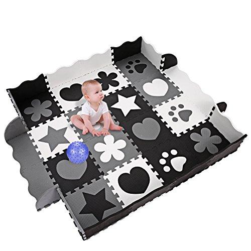 Tomasa Alfombra de Juegos para Bebes del Suelo Alfombra Puzzle de Espuma con Cerca de Puerta de Rastreo Tapete de Juego (Tipo 1 Negro y blanco)