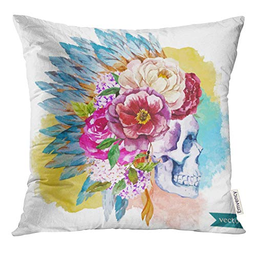 Ntpclsuits Throw Pillow Cover Tattoo War Bonnet Watercolor Skull Boho Indian Feathers Flowers Headdress Decorative Pillow Case Home Decor Square 18x18 Inches Pillowcase