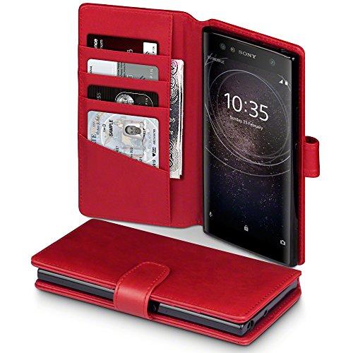Terrapin, Kompatibel mit Sony Xperia XA2 Ultra Hülle, [ECHT LEDER] Brieftasche Case Tasche mit Standfunktion Kartenfächer und Bargeld - Rot EINWEG