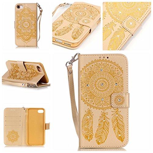 Briller Cristal Strass iPhone 7 Coque, étui Apple iPhone 7 4.7 pouce, Rabat Style Cuir Case Portefeuille Case Carte Titulaire Colorisé Cordon Windbell Motif Or