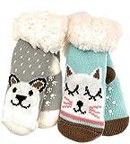 2 Paar Baby Hütten Socken Kinder Home Socks mit Teddyfutter Kuschelsocken Lammfellimitat ABS-Sohle (5553, 0-12 M, Set 1)
