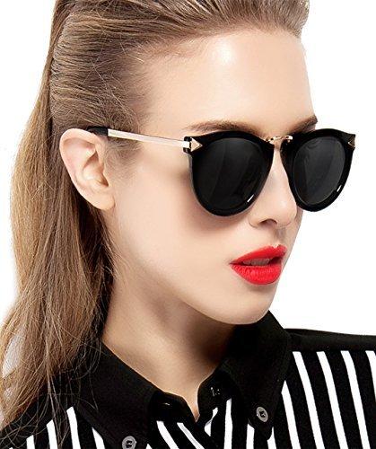 ATTCL Damen Vintage Mode polarisiert Sonnenbrille Damen 11189 Black