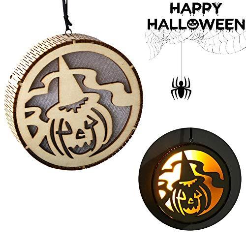 Lâ Vestmon Hölzerner hohler LED-Halloween-Dekor-Kürbis beleuchtet hängende Dekorationen Halloweens (Dekoration Beleuchtete Halloween-kürbis)