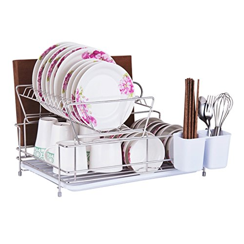 AJZXHE Abstellflächen, Tabletts und Konsolen Küchenregal, Edelstahl-Doppel-Abtropfgitter Multifunktions-Haushaltsbesteck-Rack mit Tropfschale -