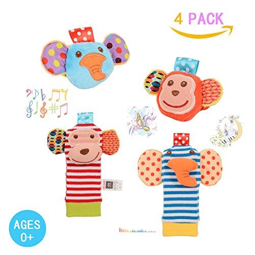 Twister.CK Sonajero para bebés, 4 piezas Sonajeros para muñecas bebé y Buscador de pies Set Calcetines juguetes Developmental Soft Animal Toys Adorable mono y elefante estilo Baby Shower Gifts