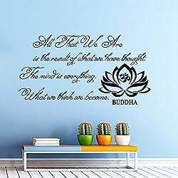Diseño de Buda con texto en inglés de pared con texto we are All that Yoga de Buda con texto en inglés de flor de loto Yoga para Pared Vinilo Adhesivo Murales para pared de otros hiill