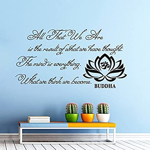 Wall Decals Quotes Buddha Quote All that we are Buddha Quote Yoga Lotus Flower Vinyl Sticker Wall Decor Murals Yoga Wall Decals Other