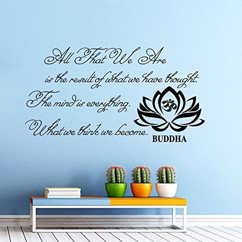 Decalcomanie da parete con citazione, motivo: buddha/tutti siamo buddha, per yoga, in vinile, motivo fiore di loto, decorazione da parete, adesivi da parete