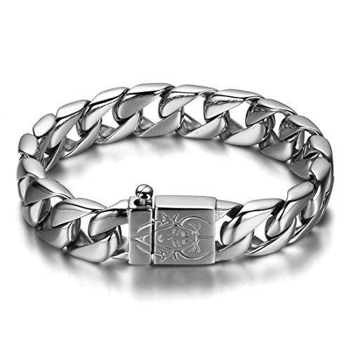 JewelryWe Schmuck Edelstahl Herren Armband, Biker schwer Fahrradkette Armkette, Partnerarmband Armreif Silber 23cm Breite - Und Silber Armband Ring Männer Für