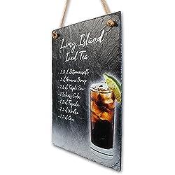 Kreative Feder Cocktail Schilder 10 Rezepte aus echtem Schiefer Schiefertafel - Wand Deko - ideales Party Geschenk 30x20cm (Long Island Iced Tea)