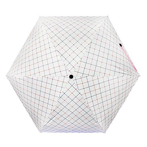FakeFace Niedlichen Damen Mini Regenschirm Sonnenschirm aus Nylon 5 Stufen Faltbar UV-Schutz Schirm Manuell Öffnen für Outdoor Camping- Gitter