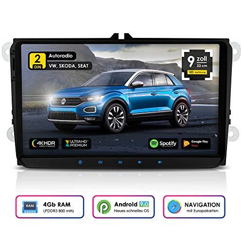 NEOTONE WRX-990A Android 9 Autoradio für VW | Skoda | Seat | 4GB Ram | 32GB Rom | Navi mit Europakarten | 9 Zoll | DAB+ Unterstützung | USB | WLAN | Bluetooth | MirrorLink | RDS | OBDII Unterstützung Ram Bluetooth