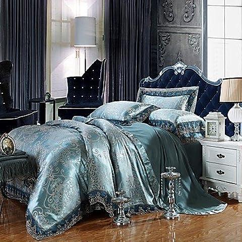 SQL Mezcla de algodón de seda de lujo de buena tela reina rey tamaño camas colcha de encaje . king