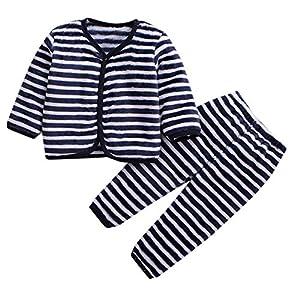 Babes Girls De Manga Larga Otoño Coral Polar Pijama Cálido Top + Pantalones De Dos Piezas Hacen Que Su Bebé Sea Más Atractivo Traje Beige_6 Millones_Estados Unidos 16