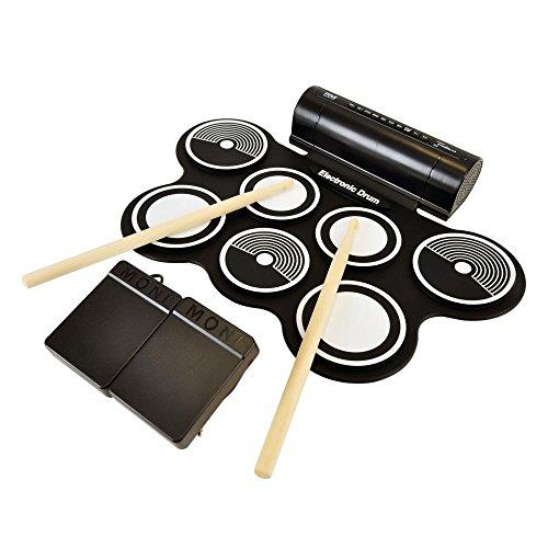 Pyle eléctrico Roll Up Drum Kit con construido en altavoces–Compacto Drumming máquina,...