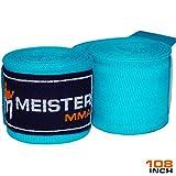 MEISTER Junior fasce da polso in cotone elastico da 274 cm per MMA e boxe (coppia)., Bambino, Turquoise