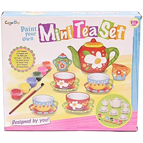 Childrens Crear pintar su propio mini juego de té de porcelana Copas