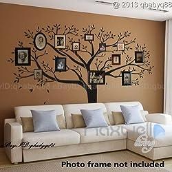LUCKKYY Stickers muraux Bdecoll - Noirs - avec Cadres Photo pour Motif Arbre de Famille