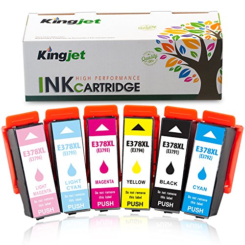 Kingjet 378XL Compatible Epson 378XL 378 XL Cartouches d'encre Replacement for Epson Expression Photo XP-8500 XP-8505 XP-15000