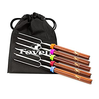Telescoping Marshmallow Roasting Sticks - Set Of 5 Premium Smores Hot Dog Forks Safe For Kids Long 82cm Extendable Rotating Skewers - Campfire Fire Pit Camping Roasters Kit By Toveli from Toveli