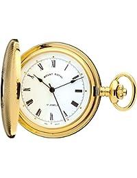Full Hunter Pocket Watch Gold Plated - 17 Jewel Mechanical - Albert Chain - Gift