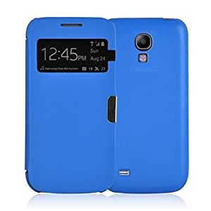 JAMMYLIZARD | Smart View Hülle für [ Samsung Galaxy S4 ] Flip Case Cover mit S-View Funktion, BLAU