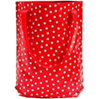wasserabweisender Shopper / Beutel / Einkaufsbeutel / Tote bag aus Wachstuch Lunares rot