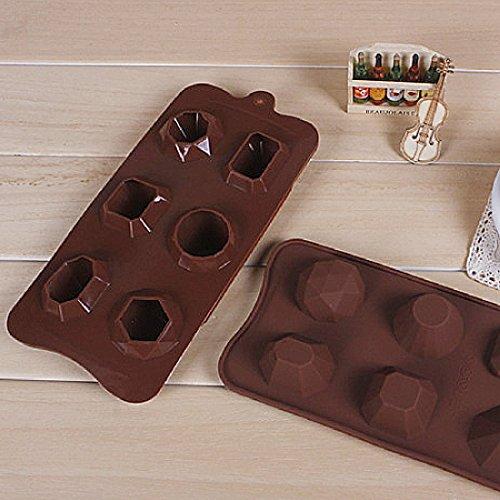 1 Stück Diamant-Silikon Ice Cookie Diy Baking Mould Schokolade Gelee Muffin Gebäck zufällige Farbe Gem Kuchenform