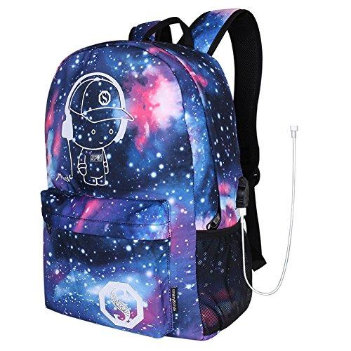 Preisvergleich Produktbild Luminous Fashion backpack With USB Charging Anime Star Sky Galaxy Pattern Noctilucence Canvas BackpackRucksack Schultertasche Schulrucksack Oxford Gewebe Rucksack Reisen Daypack mit Fluoreszenz