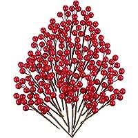 360 Piezas de Bayas de Acebo Artificial Rojas Bayas de Invierno de Navidad Manojo de Arándano