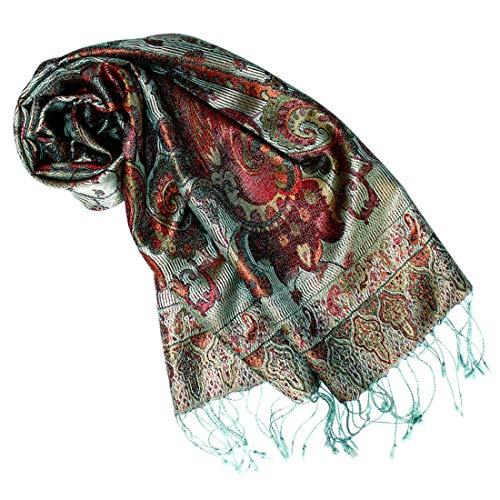 Lorenzo Cana Luxus Seidenschal für Frauen Schal 100% Seide gewebt Damenschal elegant Paisley Muster Mehrfarbig, Graugrün-mehrfarbig, 35 x 160 cm -